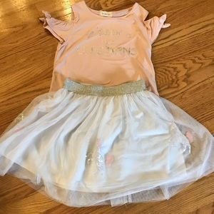Girls: Btween Size  10 unicorn shirt and tutu